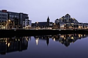 View of Dublin City from the IFSC at dawn